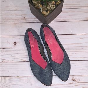TOMS Jutti Slip On Shoes Blue Denim Canvas size W7